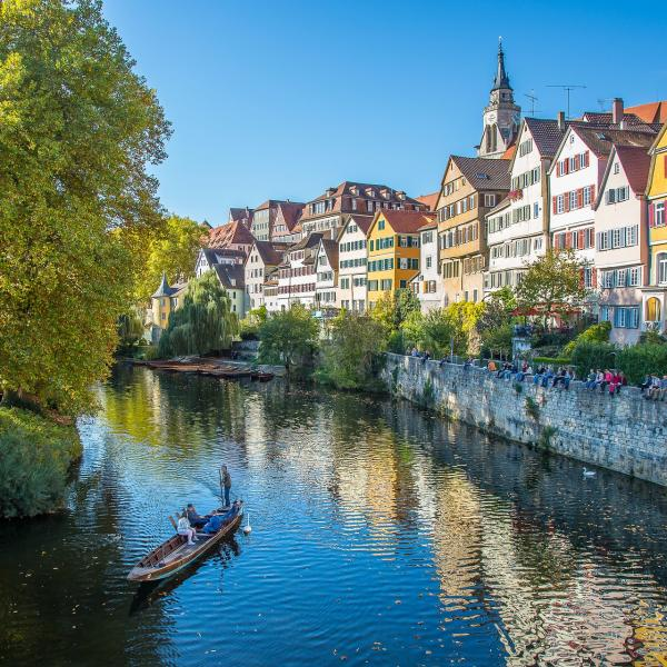 Scenic river view in Tubingen, Germany
