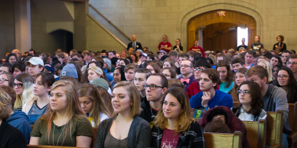 Our visiting high school students are raptly listening to the Declamation IV contest in Graham Chapel.