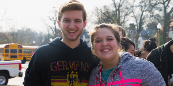 Two students are excited to be on campus for the annual German Day event.