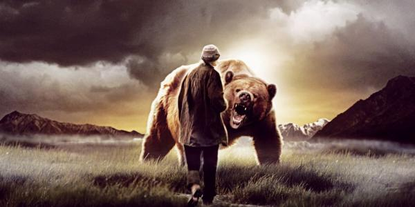 Man and Grizzly Bear Image from Werner Herzog's film Grizzly Man
